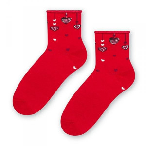Steven valentýnské 136 002 Dámské ponožky 35/37 červená