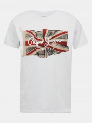 Bílé pánské tričko s potiskem Pepe Jeans Flag