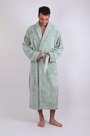 BOSTON bambusový župan se šálovým límcem stříbrná šalvěj S dlouhý župan se šálovým límcem 6517 stříbrná šalvěj