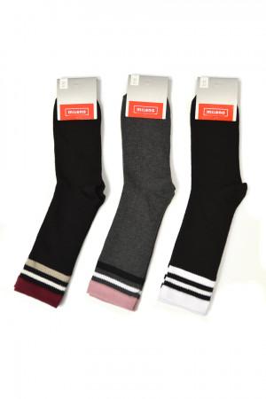 Ponožky s pruhovanou strukturou a proužky MIX 37-41