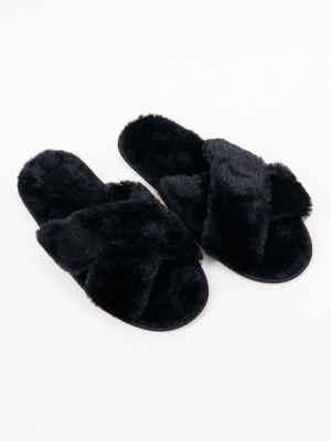 Dámské kožešinové nazouvací papuče OKL-0042 černá 40-41