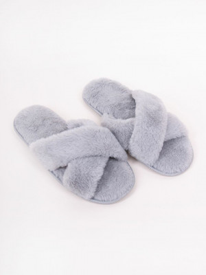 Dámské kožešinové nazouvací papuče OKL-0041 GREYRED 40-41