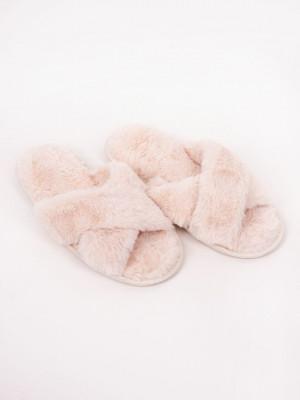 Dámské kožešinové nazouvací papuče OKL-040 ecru 38-39
