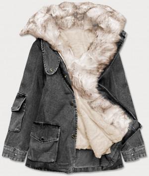 Černo/béžová dámská džínová bunda s kožešinovým límcem (BR9585-1046) černá XS (34)