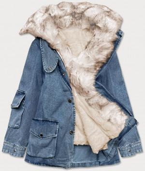 Světle modro/béžová dámská džínová bunda s kožešinovým límcem (BR9585-50046) Modrá XS (34)