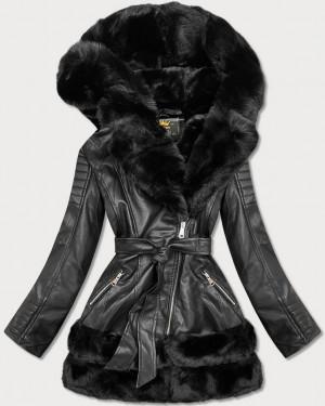 Černá bunda ramoneska s kožešinovou podšívkou (5544BIG) černá