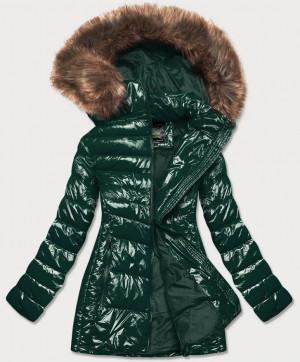 Lesklá zelená zimní dámská bunda (7723MID) zelená
