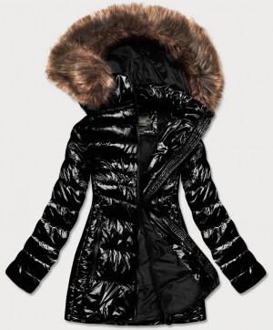 Lesklá černá dámská zimní bunda (7723MID) černá