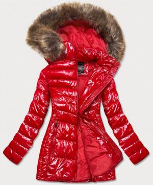 Lesklá červená dámská zimní bunda (7723MID) Červená