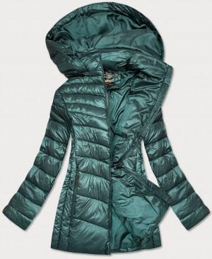 Lesklá zelená dámská zimní bunda (7723PLUS) zelená