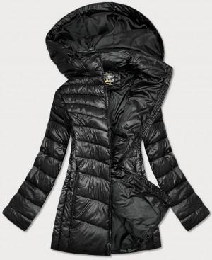 Lesklá černá dámská zimní bunda (7723PLUS) černá