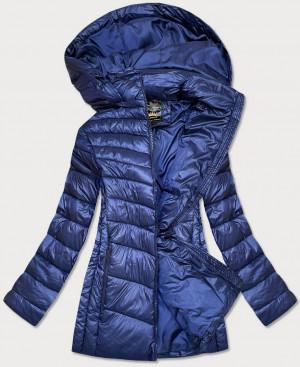 Tmavě modrá lesklá dámská zimní bunda (7723PLUS) tmavě modrá