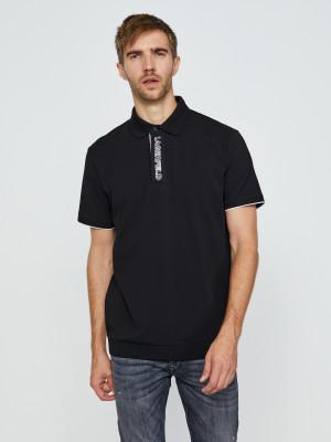 Bílo-černé polo triko KARL LAGERFELD