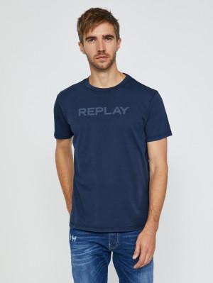 Tmavě modré pánské tričko s nápisem Replay
