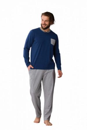 Key MNS 343 B21 Pánské pyžamo M tmavě modrá-šedá