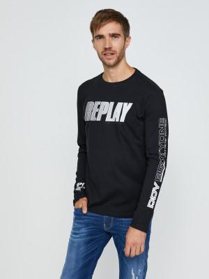 Černé pánské tričko s nápisem Replay