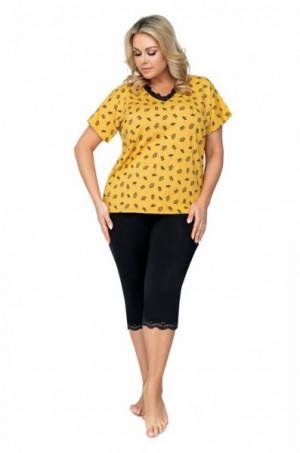 Donna Queen 3/4 Dámské pyžamo Size Plus 5XL žluto-černá