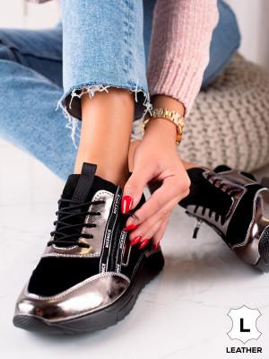 Komfortní dámské  tenisky černé bez podpatku
