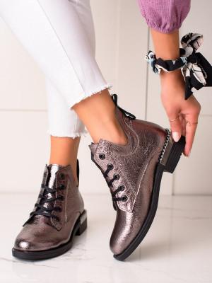 Luxusní  kotníčkové boty dámské šedo-stříbrné na plochém podpatku