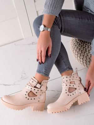 Trendy  kotníčkové boty dámské hnědé na plochém podpatku