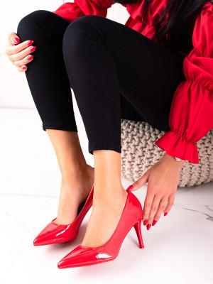 Módní dámské červené  lodičky na jehlovém podpatku