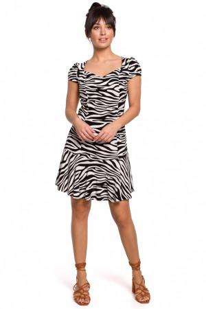 Dámské šaty B157 - BEwear ecru-black