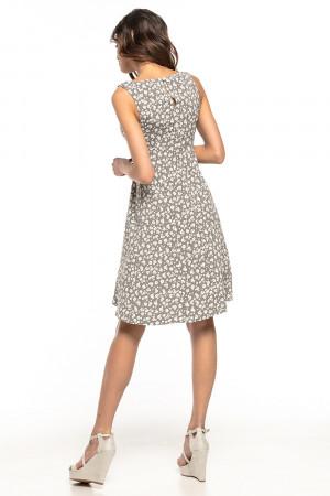 Denní dámské šaty model T281/2 - Tessita šedá s květy 38/M