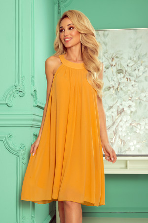 ALIZEE - Dámké šifonové šaty v medové barvě se zavazováním 350-3