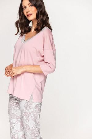 Dámské pyžamo Cana 578 3/4 2XL růžovo-bílá