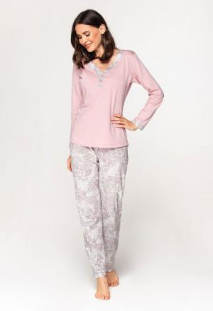 Dámské pyžamo Cana 579 dł/r 2XL růžovo-bílá