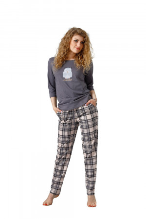 Dámské pyžamo M-Max Leveza Ane 1108 3/4 M-2XL perleťově šedá
