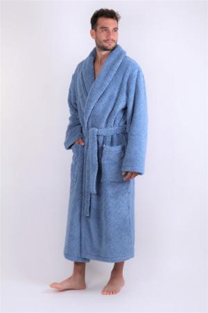 župan Athena se šálovým límcem denim S dlouhý župan se šálovým límcem jeans 5456 100% microcotton - bavlna