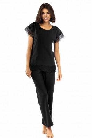 Dámské pyžamo Avery černé s krajkou černá
