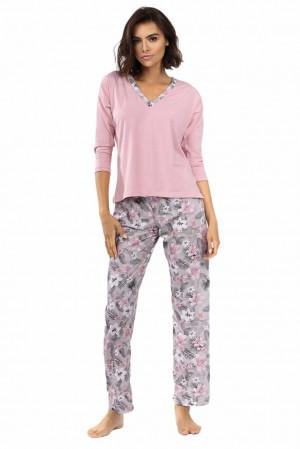 Dámské pyžamo Delisa světle růžové s květinami Růžová