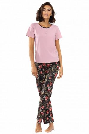 Dámské pyžamo Madie růžové s květinami Růžová