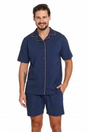 Pánské pyžamo s knoflíky Dale tmavě modré Modrá