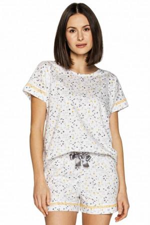 Dámské pyžamo Sofia bílé s květy Bílá