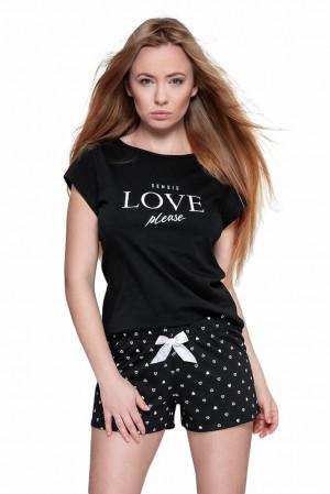 Dámské pyžamo Secret černé se srdíčky černá