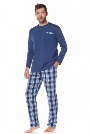 Pánské pyžamo Mateo tmavě modré Modrá