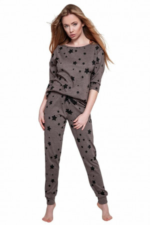 Dámské pyžamo Woman star hnědé Hnědá