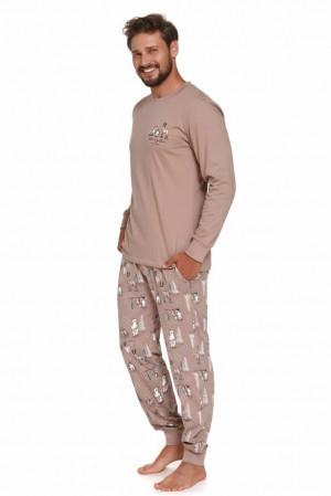 Pánské pyžamo Damian hnědé Hnědá