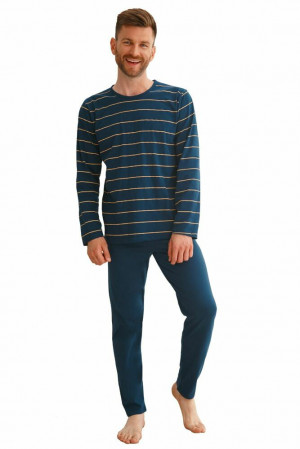 Pánské pyžamo Harry tmavě modré s pruhy Modrá