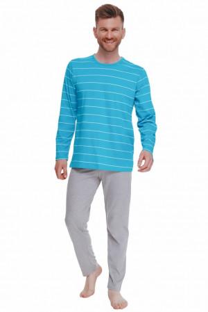 Pánské pyžamo Harry tyrkysové s pruhy tyrkysová