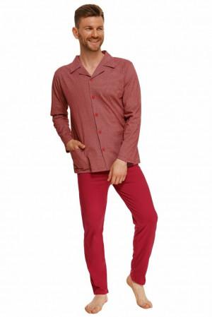 Propínací pánské pyžamo Richard červené Červená