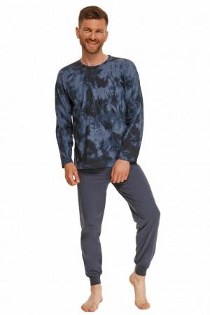 Pánské pyžamo Greg modré batikované Modrá