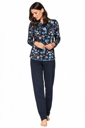 Luxusní dámské pyžamo Della tmavě modré s květy Modrá