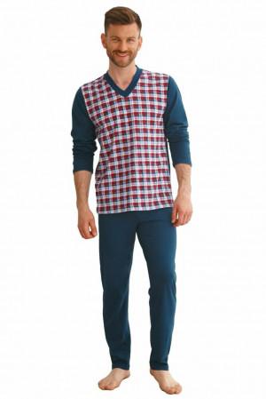 Pánské pyžamo Victor tmavě modré káro Modrá
