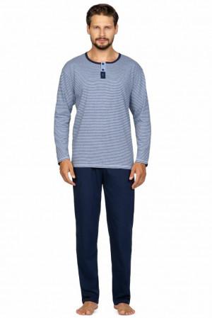 Pánské pyžamo Bart modro-šedé s pruhy Modrá