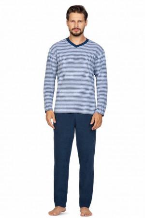 Pánské froté pyžamo Robin modré s pruhy Modrá