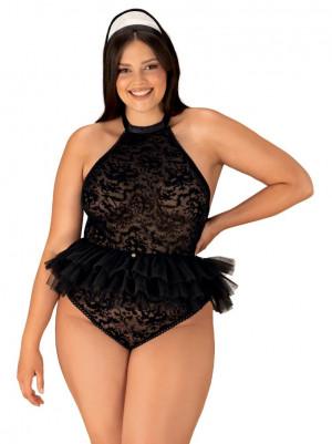 Elegantní kostým Frilles 2XL/3XL - Obsessive Černá 2XL/3XL